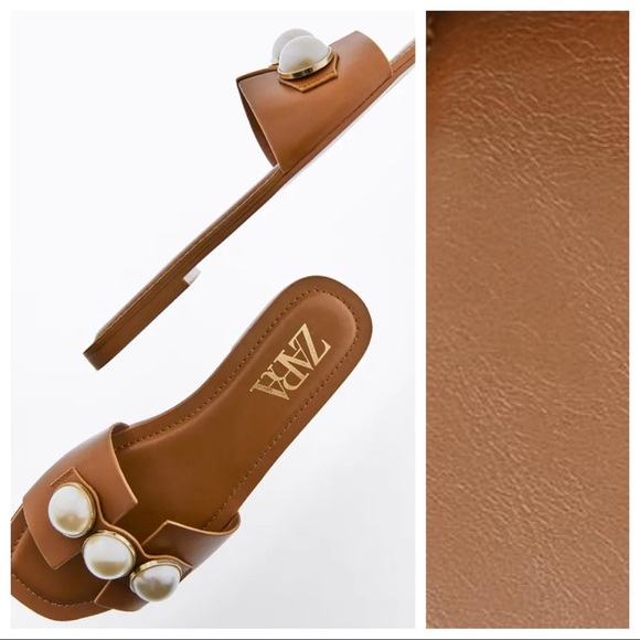 NWT. Zara Natural Leather Flat Sandals. Size 8.